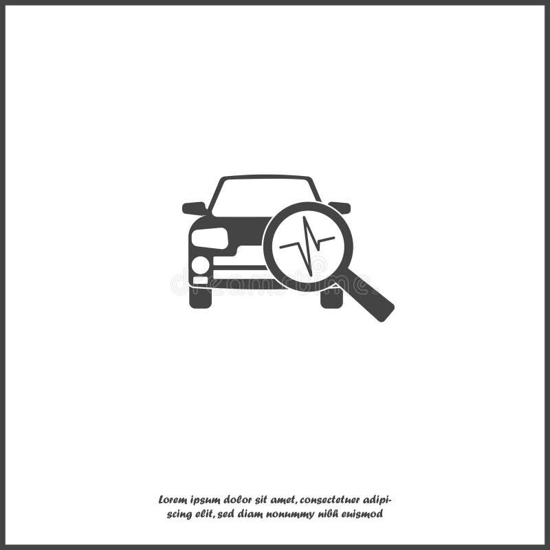 Значок диагностик автомобиля вектора на белой изолированной предпосылке иллюстрация штока