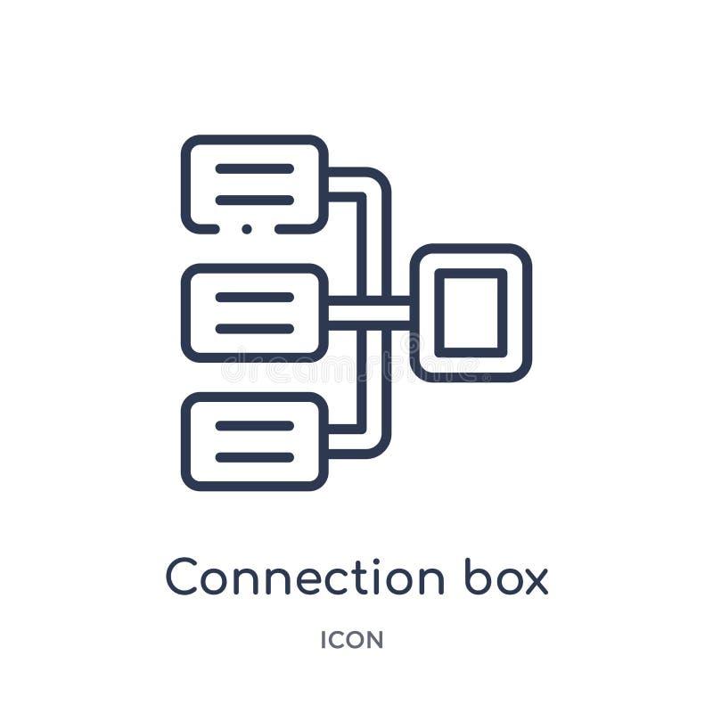 Значок диаграммы коробки линейного соединения от собрания плана дела Тонкая линия значок диаграммы коробки соединения изолированн иллюстрация штока