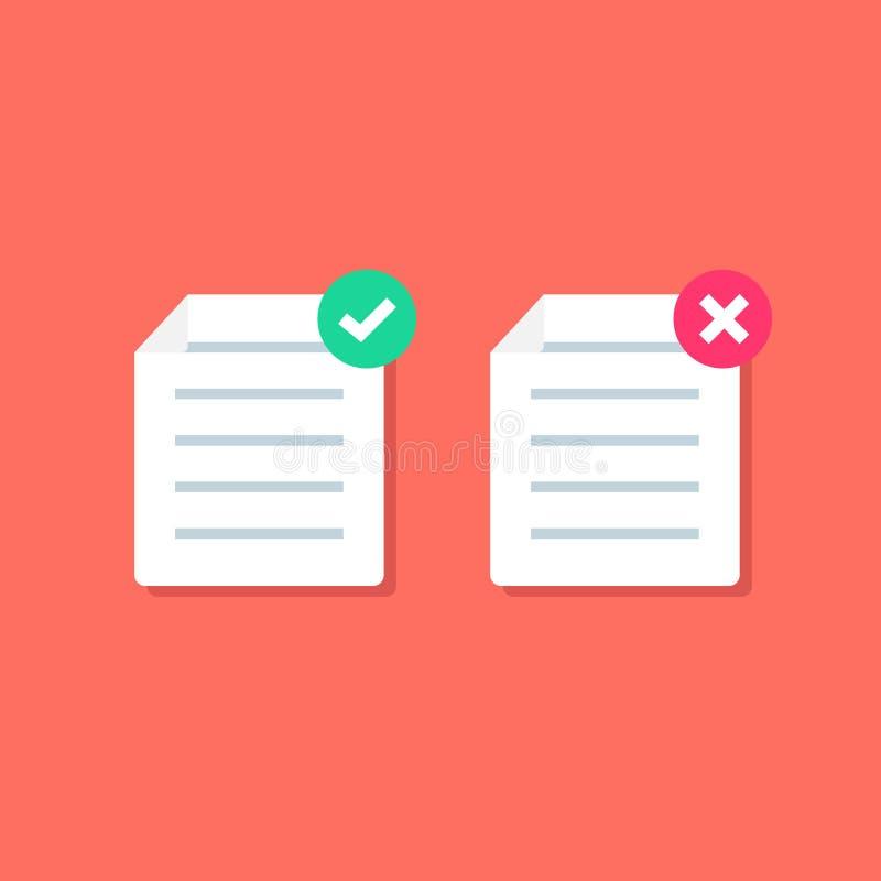 Значок документа или бумажных с контрольной пометкой перекрестные знаки Символы ДА и НЕТ Файл брака иллюстрация вектора