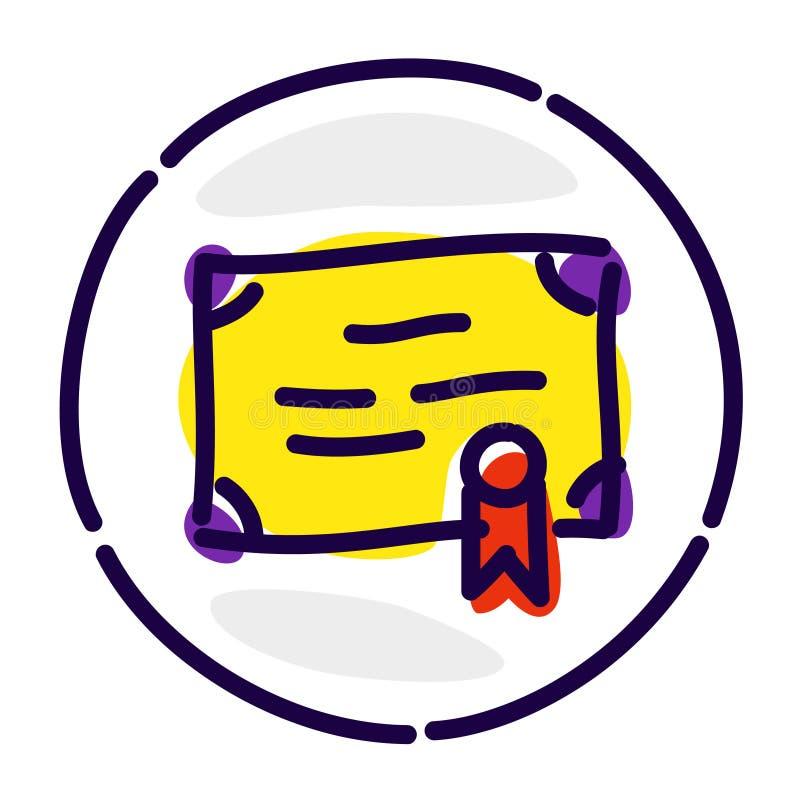 Значок сертификата, исключительный логотип, воплощение, знак Значок вектора плоский Изображение изолировано на белой предпосылке  иллюстрация штока