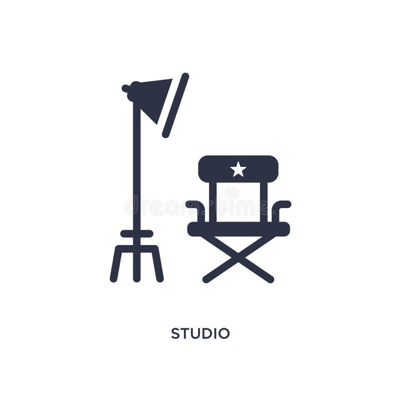 значок студии на белой предпосылке Простая иллюстрация элемента от концепции кино иллюстрация вектора