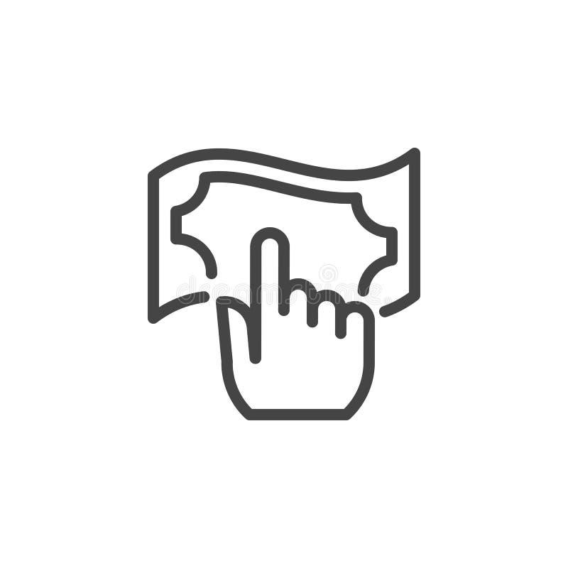 Значок счета руки и денег линейный Нажмите на дальше кнопку банкноты Приобретение, банк, обмен, знак сделки финансов иллюстрация штока