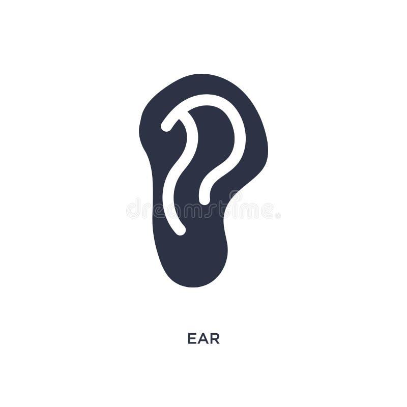 Значок уха на белой предпосылке Простая иллюстрация элемента от медицинской концепции иллюстрация вектора