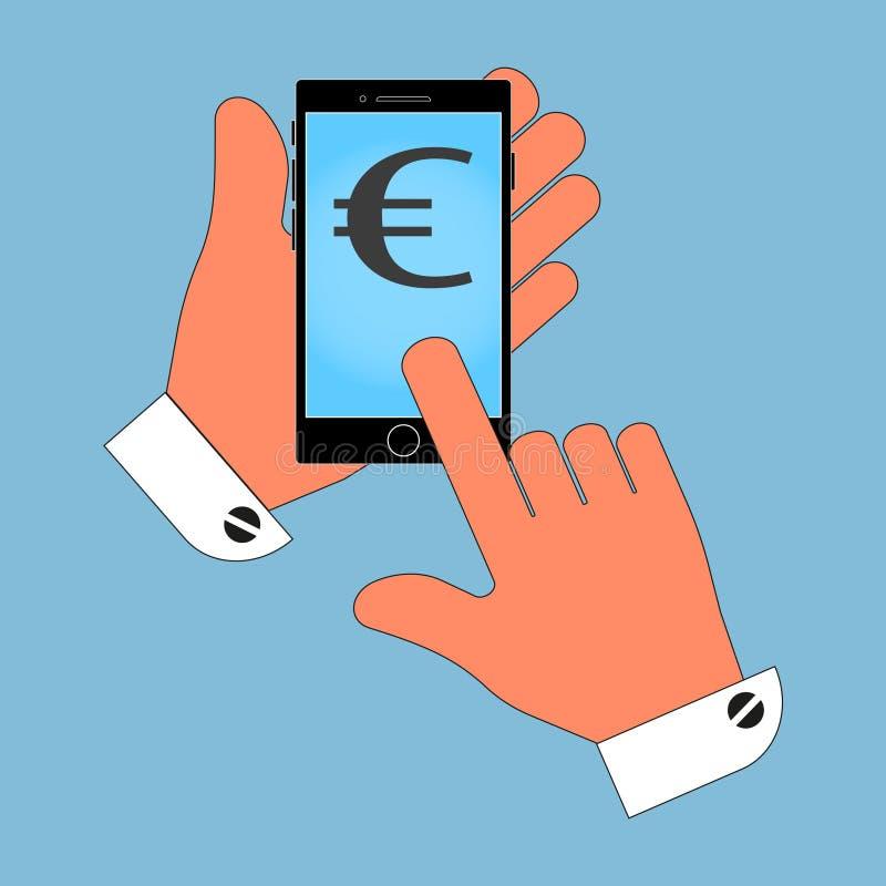 Значок телефона в руке, с символом евро на экране, изоляция на голубой предпосылке иллюстрация вектора
