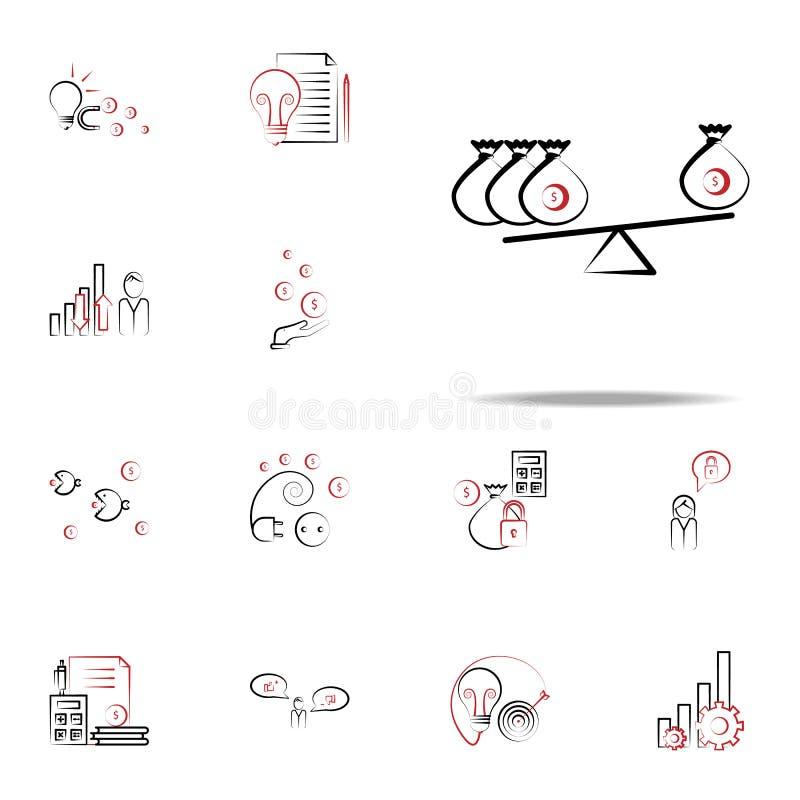 Значок финансов баланса Набор значков дела и управления всеобщий для сети и черни иллюстрация вектора