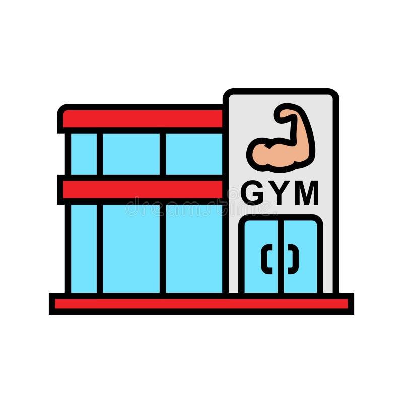 Значок фитнес-центра спортзала иллюстрация места культуриста с символом мышцы руки простой график иллюстрация штока