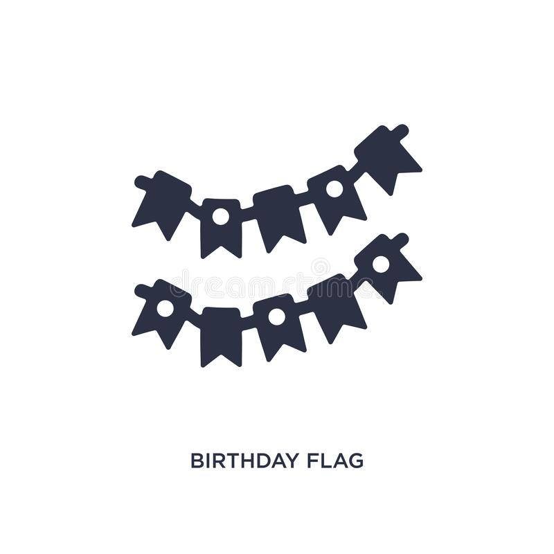 значок флага дня рождения на белой предпосылке Простая иллюстрация элемента от концепции дня рождения и свадьбы иллюстрация вектора