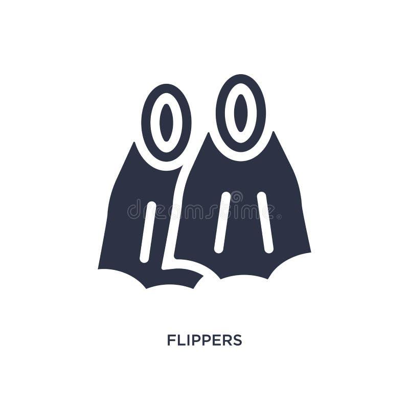 значок флипперов на белой предпосылке Простая иллюстрация элемента от концепции лета бесплатная иллюстрация