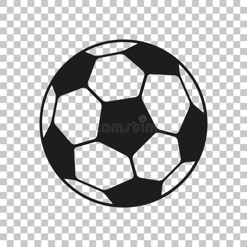 Значок футбола в плоском стиле Футбольный мяч вектора на прозрачной предпосылке Объект спорта для вас дизайн-проекты иллюстрация штока