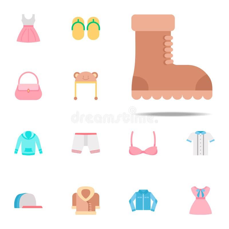 Значок цвета ботинка Комплект значков одежд всеобщий для сети и черни иллюстрация штока