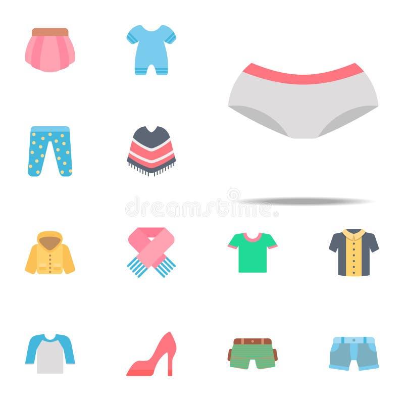 Значок цвета трусов Комплект значков одежд всеобщий для сети и черни иллюстрация штока
