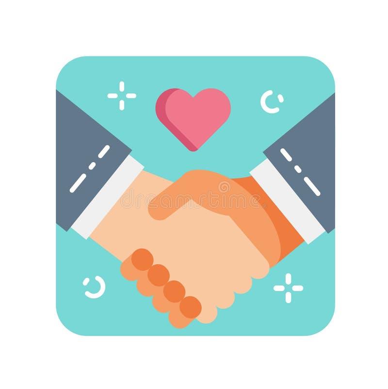 Значок цвета Handshaking плоский Концепция доброты, призрения и помощи бесплатная иллюстрация