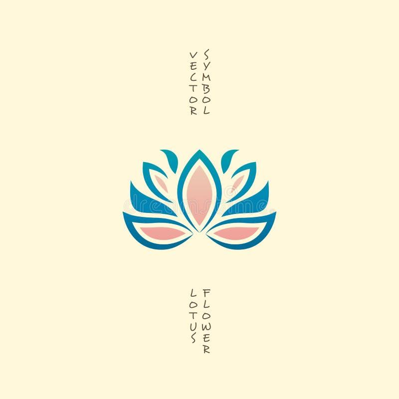 Значок цветка лотоса Логотип вектора флористический Восточный индийский символ изолированный на белизне Концепция для спа, йоги и иллюстрация штока