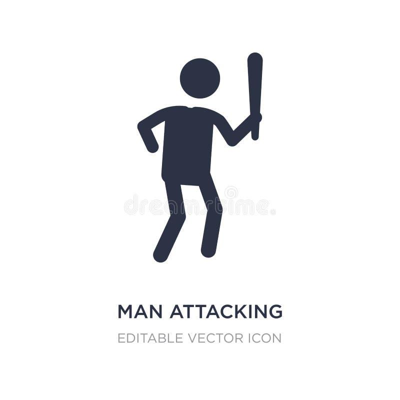 значок человека атакуя на белой предпосылке Простая иллюстрация элемента от концепции людей иллюстрация вектора
