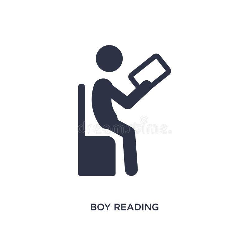 значок чтения мальчика на белой предпосылке Простая иллюстрация элемента от деятельности и концепции хобби иллюстрация штока