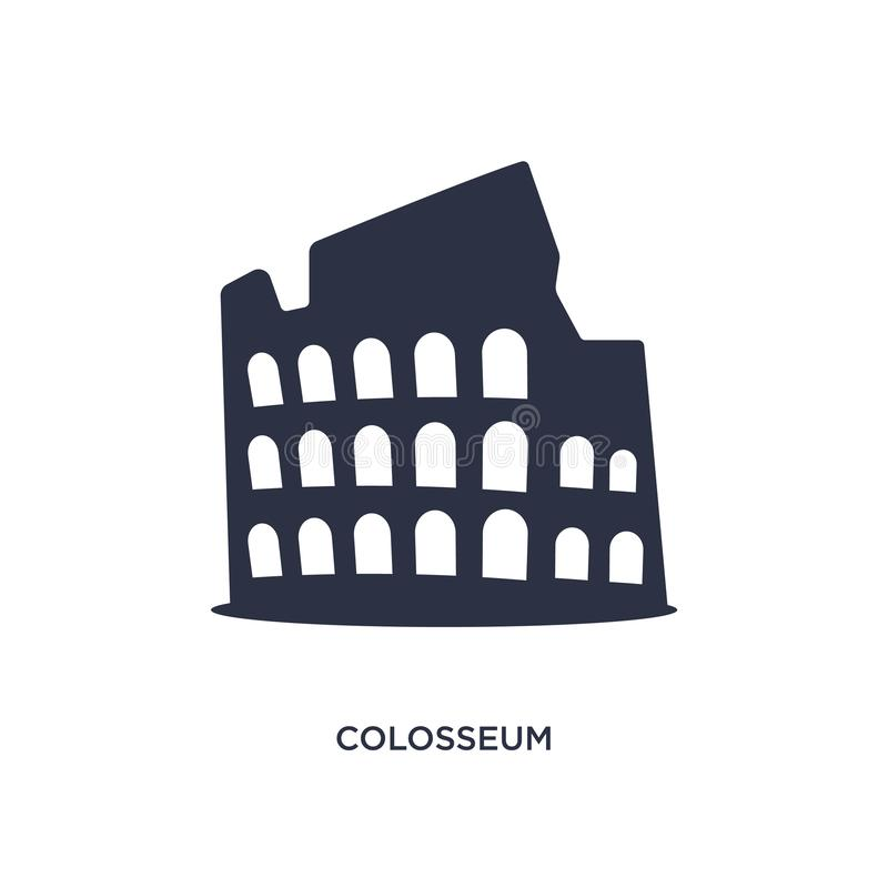 значок colosseum на белой предпосылке Простая иллюстрация элемента от концепции истории иллюстрация штока