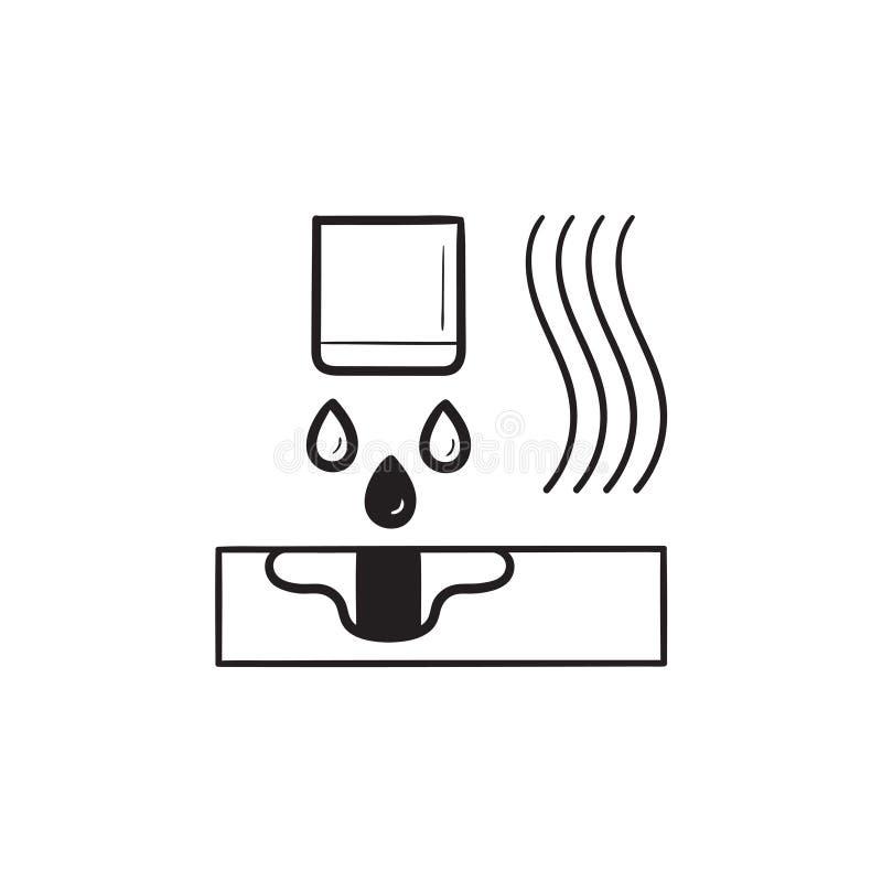 Значок doodle плана Multi руки технологии сплавливания двигателя вычерченный иллюстрация штока