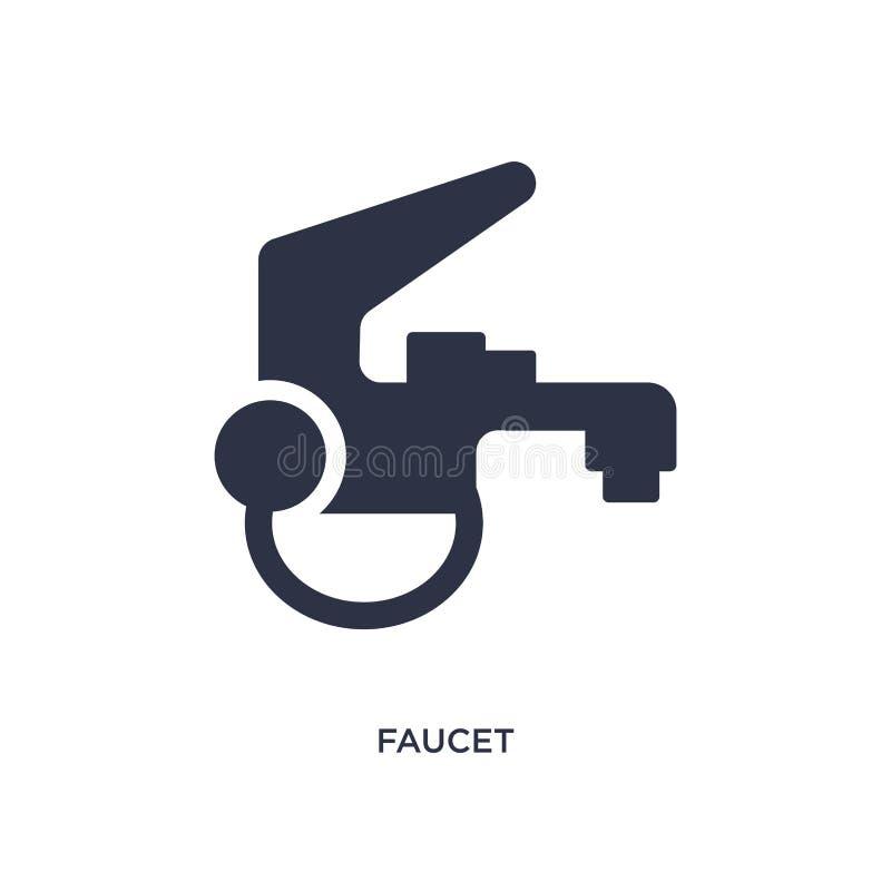 Значок Faucet на белой предпосылке Простая иллюстрация элемента от обрабатывать землю концепция иллюстрация штока