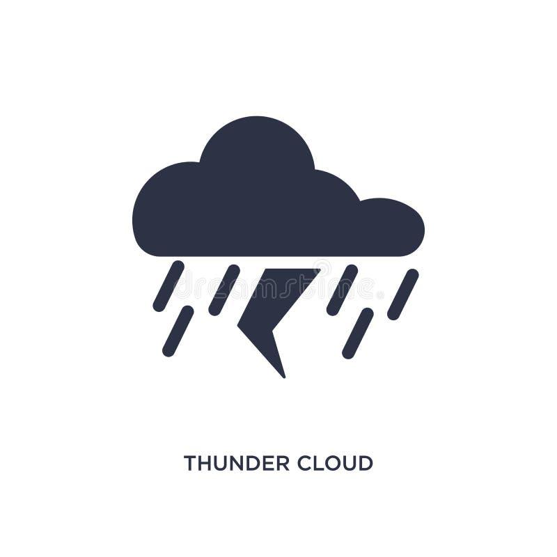 значок облака грома на белой предпосылке Простая иллюстрация элемента от концепции метеорологии иллюстрация вектора