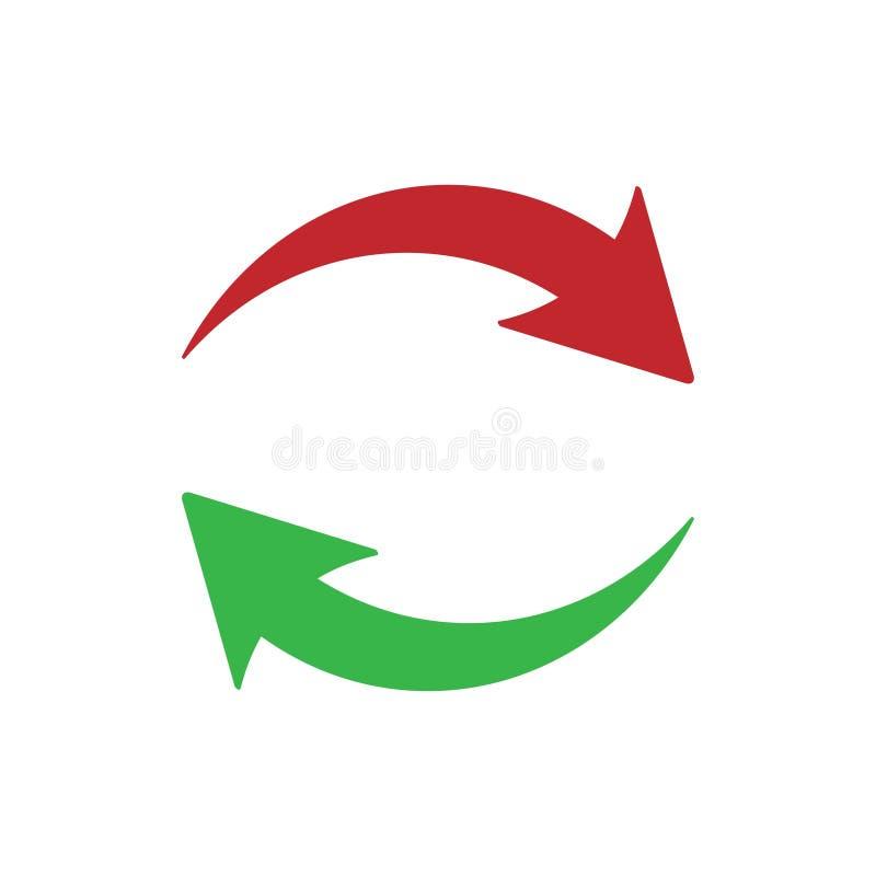 Значок обновления на белой предпосылке красный цвет стрелок зеленый значок обновления от средств массовой информации Ультрамодный бесплатная иллюстрация