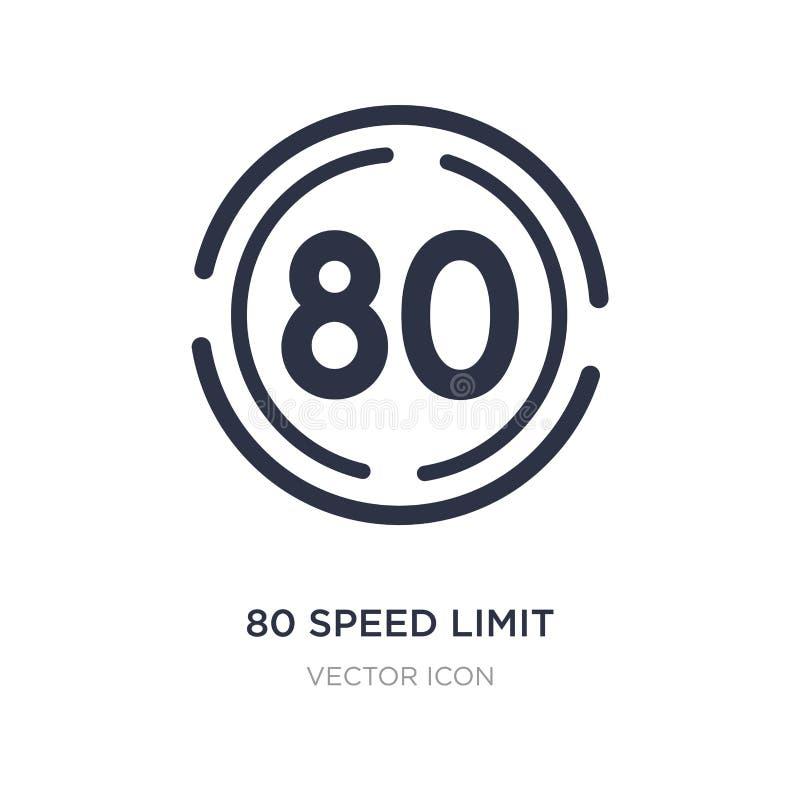значок 80 ограничений в скорости на белой предпосылке Простая иллюстрация элемента от концепции карт и флагов иллюстрация вектора