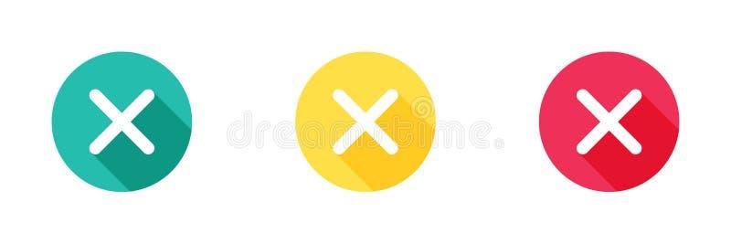 Значок отмены в зеленые желтом и красный с длинным влиянием тени, близким символом Простой, плоский дизайн, стиль твердых/глифе з иллюстрация штока