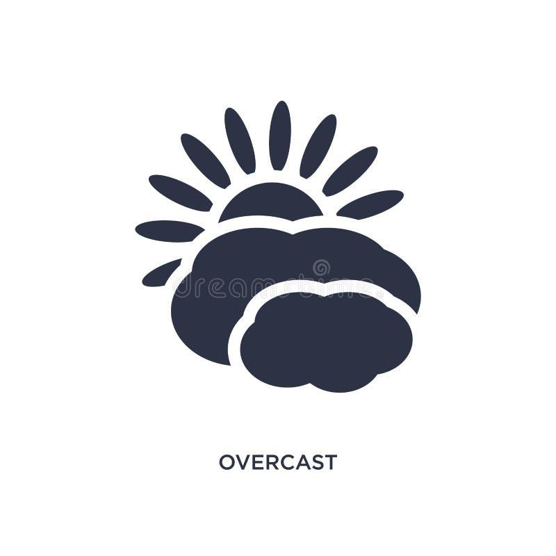 значок overcast на белой предпосылке Простая иллюстрация элемента от концепции метеорологии иллюстрация штока