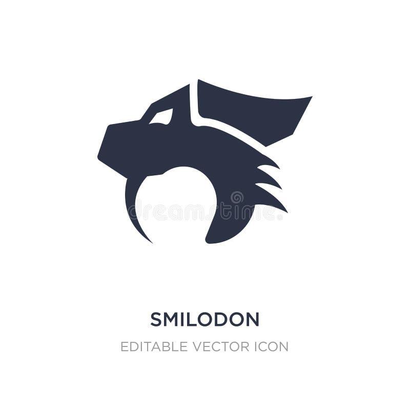 значок smilodon на белой предпосылке Простая иллюстрация элемента от концепции животных иллюстрация вектора