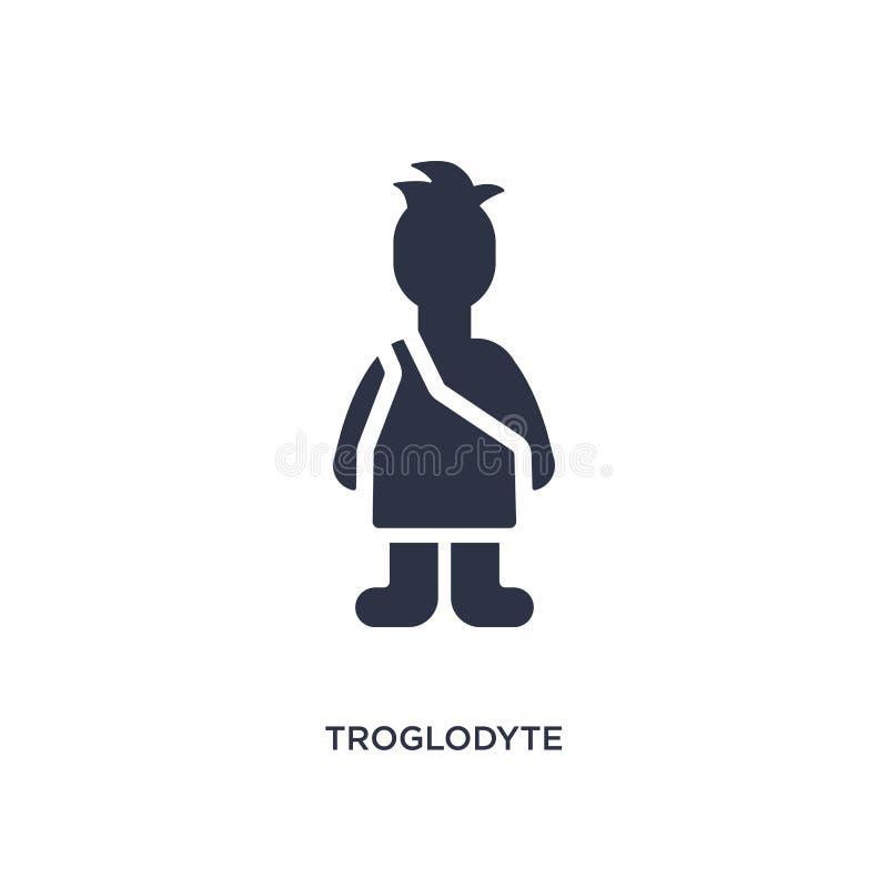 значок troglodyte на белой предпосылке Простая иллюстрация элемента от концепции каменного века иллюстрация вектора