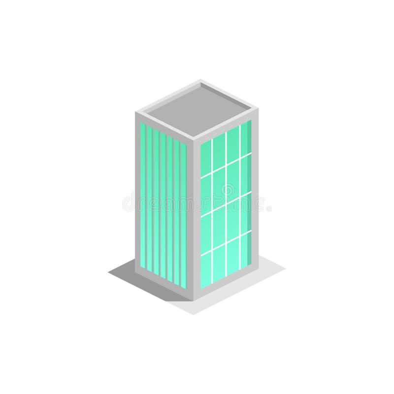Здание делового центра, офис, по-настоящему брошюры имущества или значок сети равновелико иллюстрация штока
