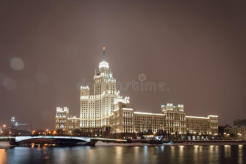 Здание обваловки Kotelnicheskaya здание в Москве, одном из 7 сталинист небоскребов стиля архитектуры стоковое фото