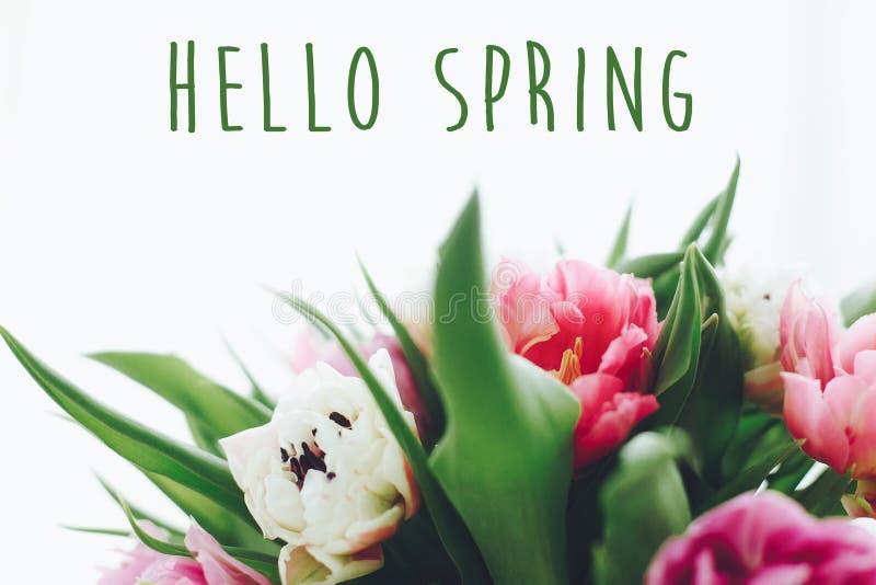 Здравствуйте знак текста весны на красивом двойном букете тюльпанов пиона в свете Весеннее время Стильная флористическая поздрави стоковое изображение rf