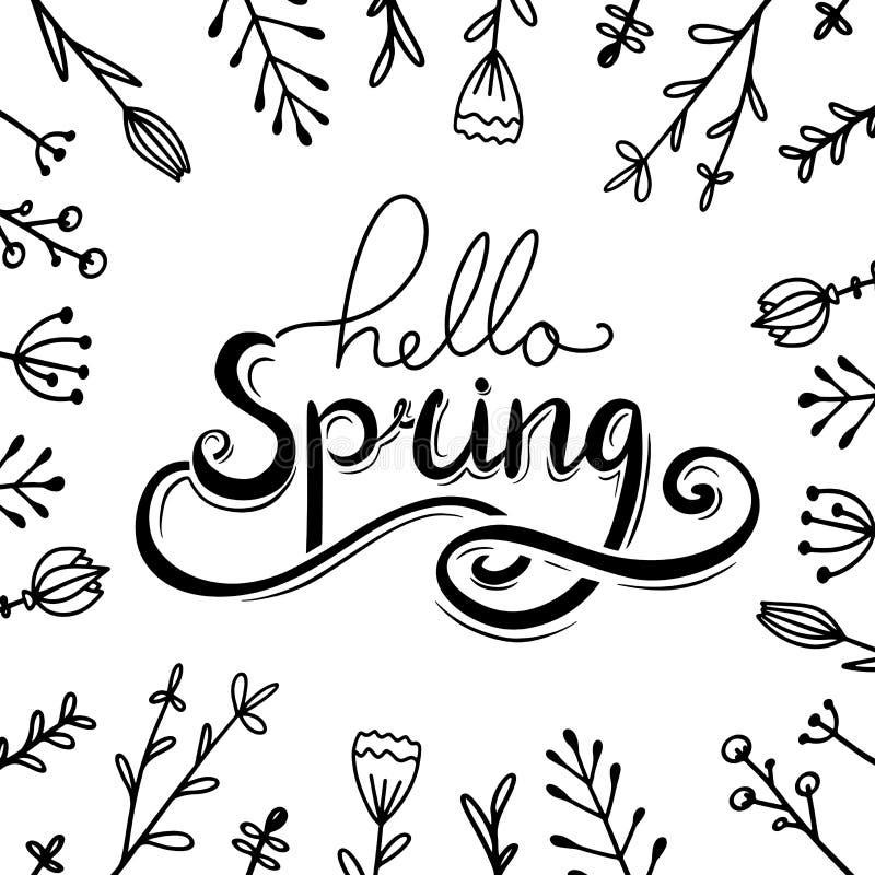 Здравствуйте, литерность весны рукописная с цветками doodle Поздравительная открытка Squarel иллюстрация штока