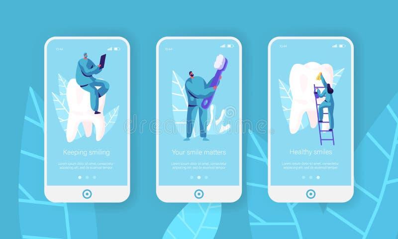 Здоровые зубы очищают страницу приложения зубной щетки мобильную на наборе экрана Дантист делает предохранение, забеливая зубную  бесплатная иллюстрация