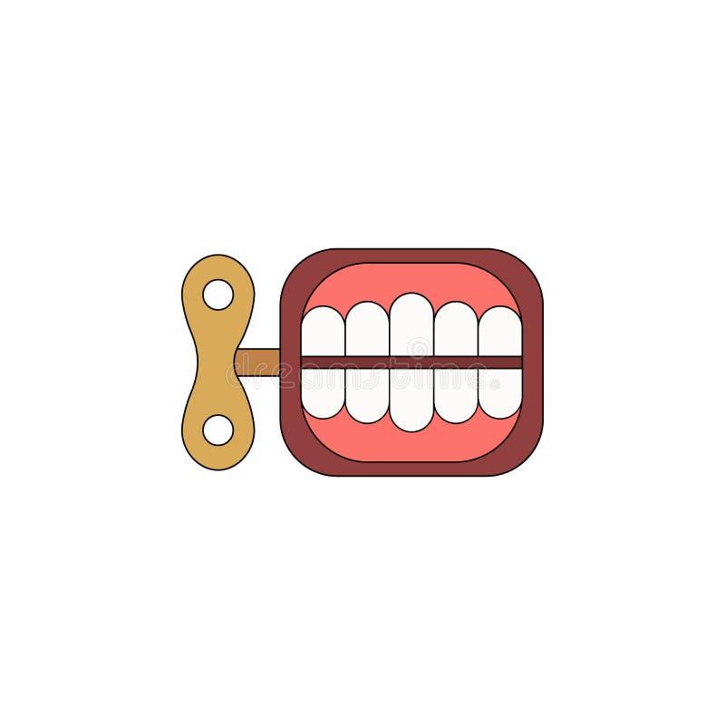 Зубы мультфильма обматывают значок покрашенный игрушкой Знаки и символы можно использовать для сети, логотипа, мобильного приложе иллюстрация вектора