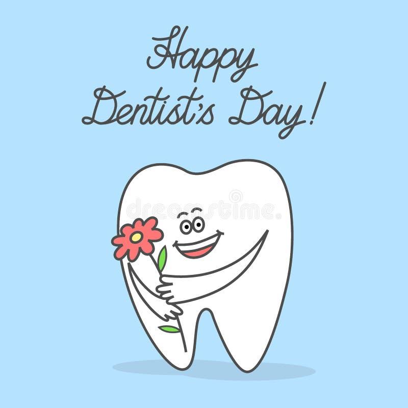 Зуб мультфильма держа цветок и желая день счастливого дантиста иллюстрация штока