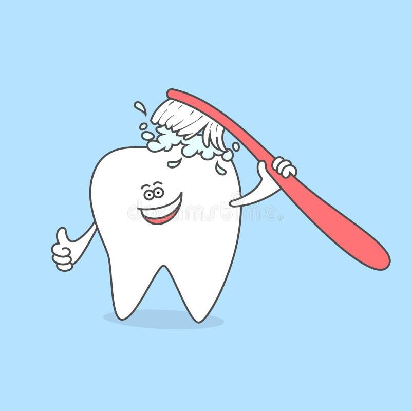 Зуб с зубной щеткой и зубной пастой чистя щеткой зубы Символ зубоврачебной заботы и гигиены Зуб шаржа ся в команду зуб бесплатная иллюстрация