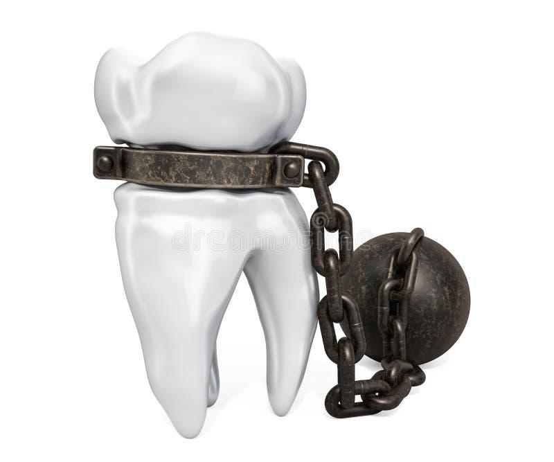 Зуб с сережкой, концепцией toothache перевод 3d иллюстрация вектора