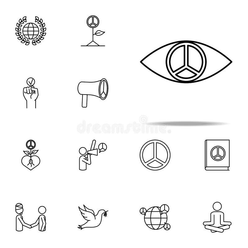 зрачок значка знака мира набор значков прав человека всеобщий для сети и черни бесплатная иллюстрация