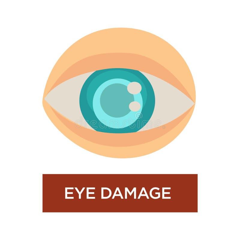Зрачок диабета повреждения глаза запачканный симптомом изолированный зрачком иллюстрация вектора