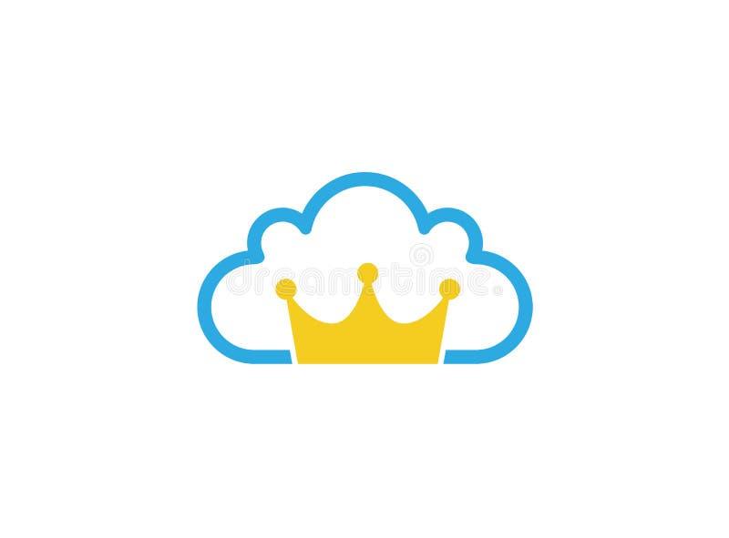 Золотая крона внутри логотипа облака иллюстрация вектора