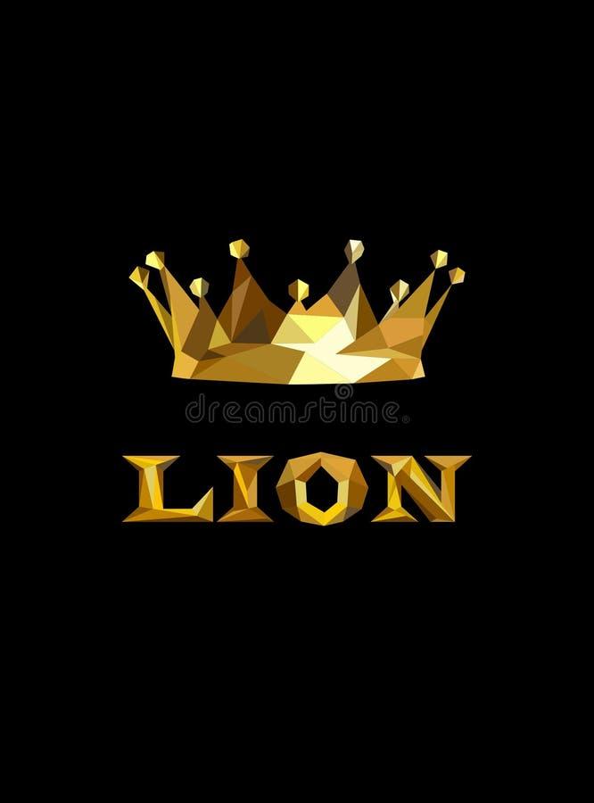 Золотая крона короля poligonal Низкий поли логотип льва иллюстрация вектора