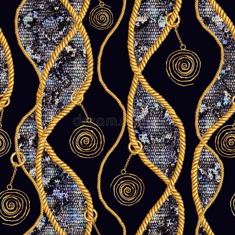 Золотая цепная иллюстрация картины snakeskin очарования безшовная Текстура акварели с золотыми цепями стоковая фотография
