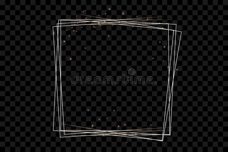 Золотая рамка с световыми эффектами, сияющая роскошная иллюстрация вектора знамени бесплатная иллюстрация