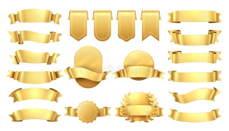 золотистые тесемки Сияющие старые ярлыки, элементы знамени волны, украшение продвижения ретро, желтая продажа цены Реалистический иллюстрация штока