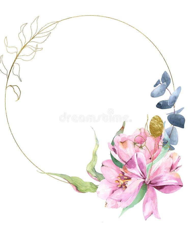 Золотой венок с акварелью и золотой листвой, тюльпанами, эвкалиптом, бесплатная иллюстрация