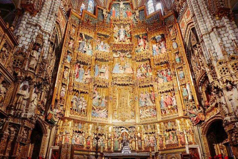 Золотой готический стиль retable собора примата St Mary Испания toledo стоковое фото rf