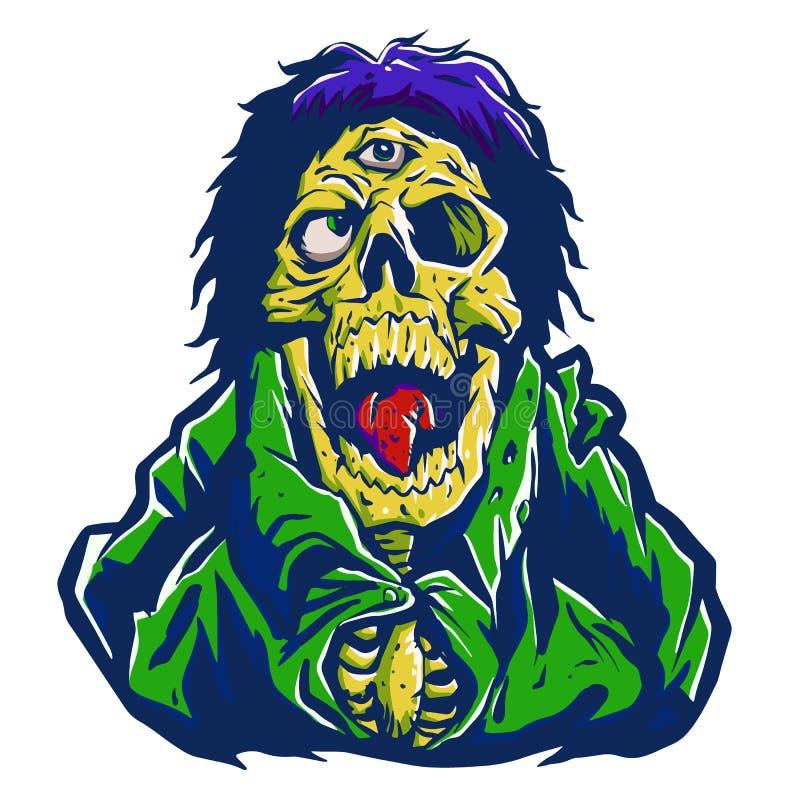 Зомби с одним глазом на лбе иллюстрация штока