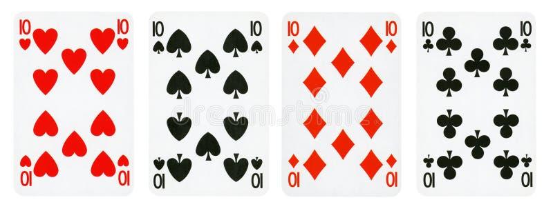 4 игральной карты изолированной на белой предпосылке стоковые изображения
