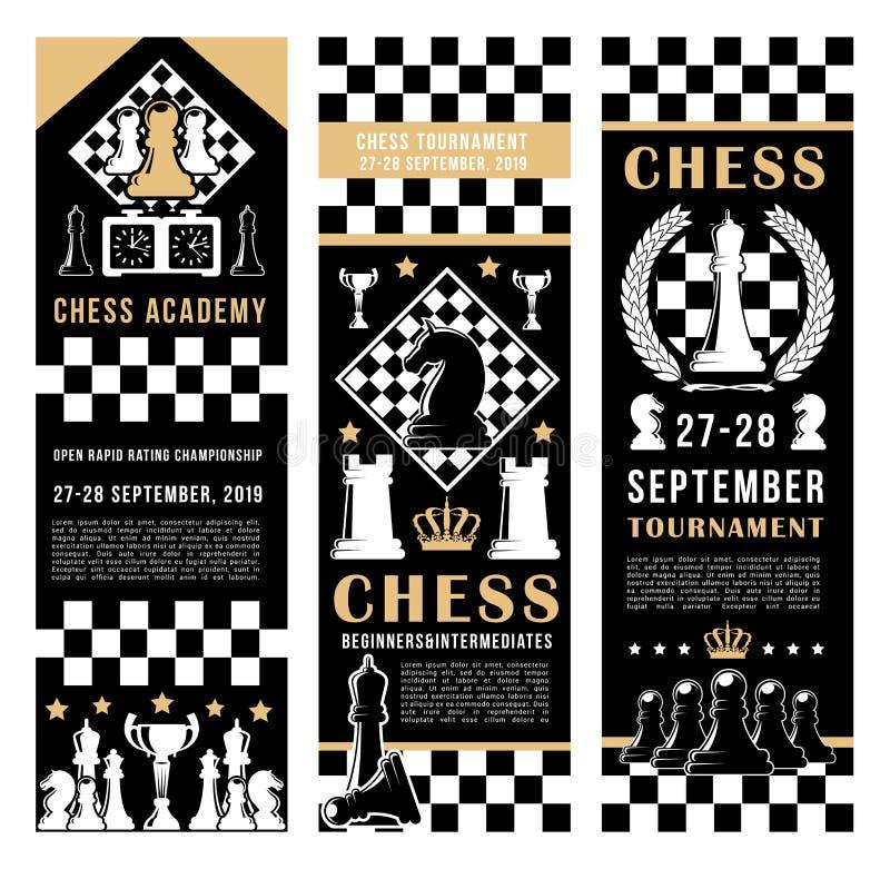 Игра академии спорта турнира шахмат иллюстрация вектора